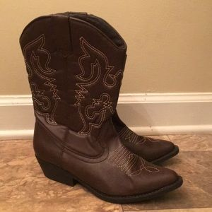 Vintage Brown Leather Gypsy Boho Cowgirl Boots
